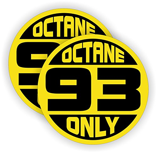 93 OCTANE ONLY Automotive Fuel Decals | Racing Gas Door Stickers | Gasoline Pump Pump Labels | Vinyl Markers for Car Truck SUV