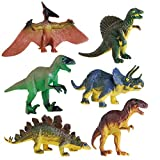 STOBOK 6pcs Dinosaurs Toy Set Plastic Dinosaurs Animal Figures Model Educational Toy for Kids Children Gift Tyrannosaurus Stegosaurus Triceratops Utahraptor