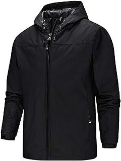 Sponsored Ad - YUMING Men's Waterproof Jacket with Hood Windproof Jacket Zip Windbreaker Lightweight Raincoat for Outdoor