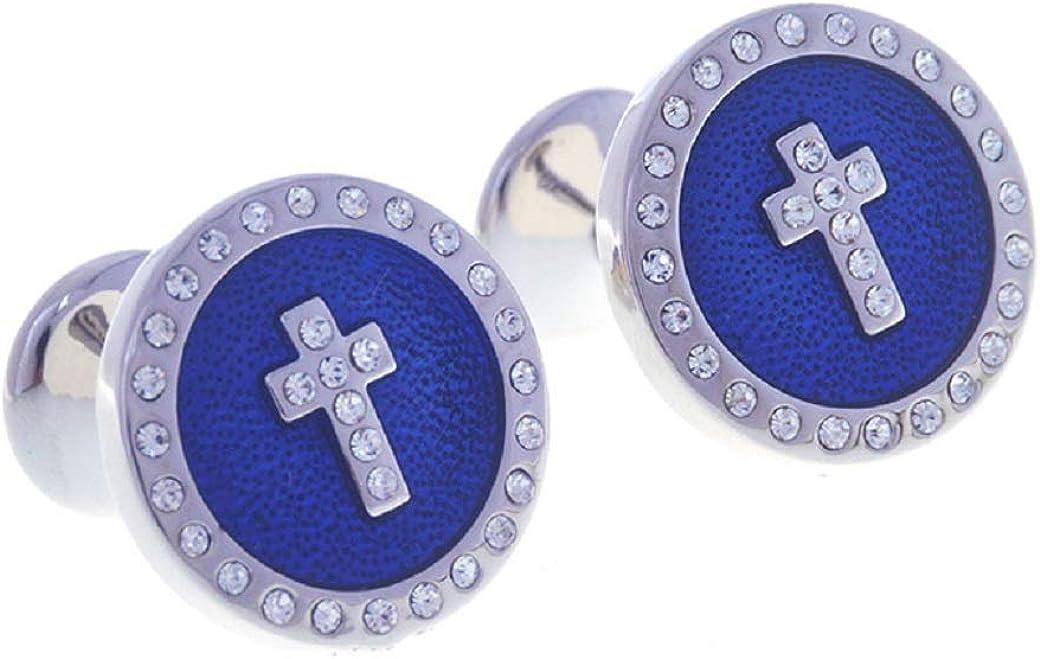 MRCUFF Cross Round Crystal Blue Pair Cufflinks in a Presentation Gift Box & Polishing Cloth