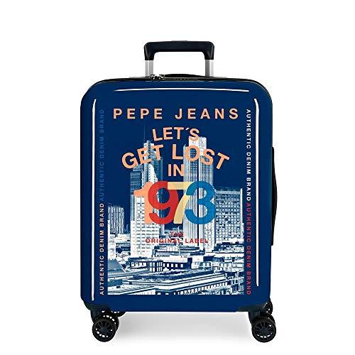 Pepe Jeans Leven Maleta de cabina Azul 40x55x20 cms Rígida ABS Cierre TSA 38.4L 2,9Kgs 4 Ruedas Dobles Equipaje de Mano