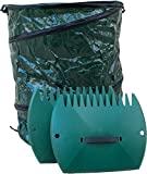 Garden Leaf Grabber Scoop & 30 Gallon Bag. Clean Your Yard Fast & Easy! Plastic Hand Rakes & Collapsible Bag. Leaves Picker & Big Container Set. Mulch Collector Rake. Outdoor Trash Grabbers