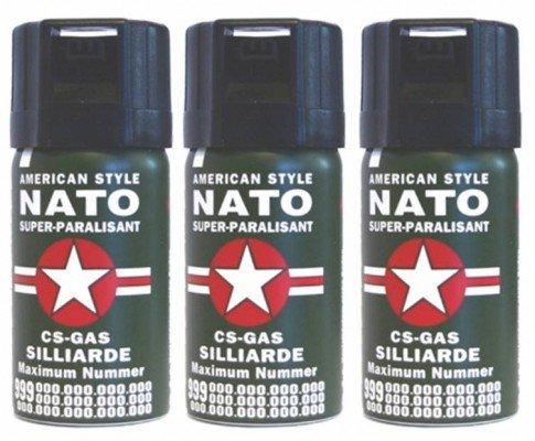 3 Stück CS GAS NATO Tränengas 40ml Abwehrspray CS-GAS