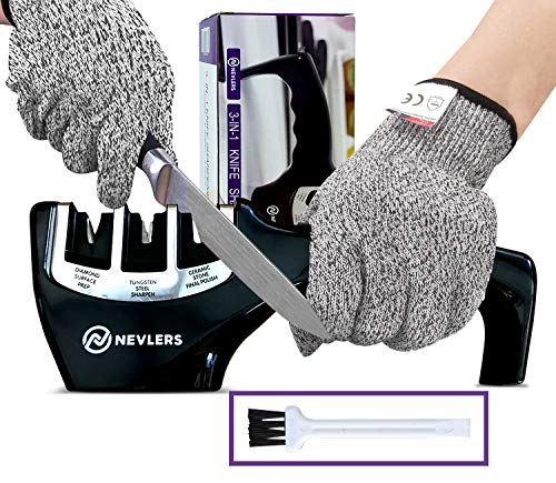 Nevlers 3 in 1 Knife Sharpener - Preps, Repairs, Sharpens, and Polishes Most Knives with the Diamond, Ceramic, and Tungsten Steel Blades - 2 Cut Resistant Gloves Included
