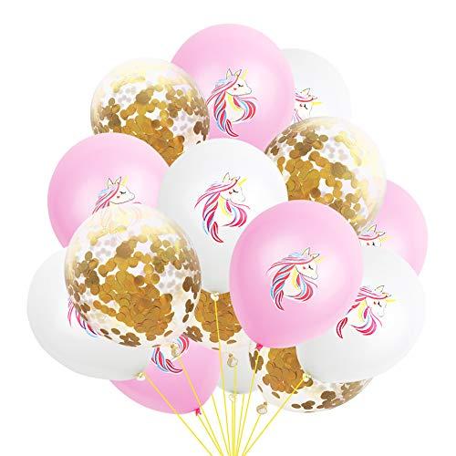 thematys® Hermosos Globos de Unicornio de 15 Piezas en 3 diseños Diferentes - Algunos llenos de Confeti - para Fiestas y cumpleaños (Style 3)