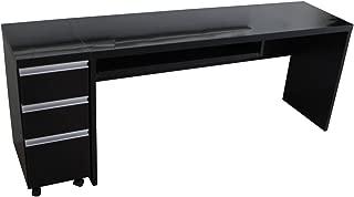 パソコンデスク 2点セット 鏡面仕上げ 書斎机 ブラック JS123BK J-Supply
