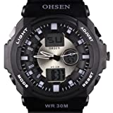 Ohsen Mens Fashion Sports Dual Time Display 24 Hours Rubber Strap Wrist Watch...