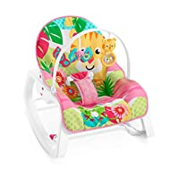 Rocker grows with your baby from infant to toddler (up to 40 lb/18 kg) Deep cradle seat & reclining seat back with calming vibrations to help soothe baby Removable toy bar with crinkly butterfly & tiger rollerball Foldout kickstand for stationa...