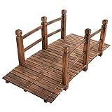 HAPPYGRILL Large 5' Garden Bridge Wooden Stained Finish Decorative Pond Bridge