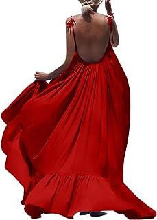 Women Maxi Solid Sleeveless Long Backless Dress Evening Party Beach Dress