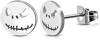 One Pair of New Hypoallergenic Nightmare Skeleton 316L Surgical Stainless Steel 10 mm Stud Earrings Skull