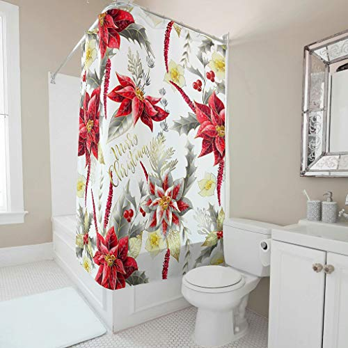 Charzee Douchegordijn, Kerstmis, Happy patroon, schimmelbestendig, kleurvast, douchegordijn, badkuip