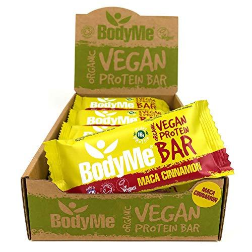 BodyMe Bio Vegan Protein Riegel | Roh Maca Zimt | 12 x 60g Vegane Proteinriegel | Glutenfrei | 16g Komplette Veganes Protein pro Snack | 3 Proteine | Alle Essentiellen Aminosäuren | Fitness Riegel