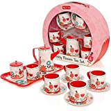 Milly & Ted Pretend Play Kids Tea Set - Deluxe Tin Tea Party Set For Children - Includes Carry Case - Childrens Tea Set Kids Toy