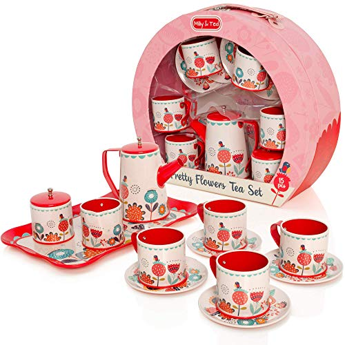 Milly & Ted Tragetasche Teaset - Kinder Deluxe Metal Tee-Set - Pretend Play Kitchen Toy