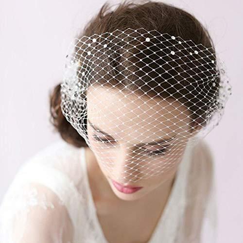 TOUSHA Bridal Hochzeit Vintage Headwear, One-Tier Cut Edge Rouge Kurze Schleier mit Kamm - für...