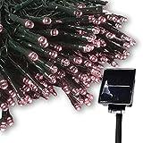 AJTT LED ソーラー イルミネーション 太陽発電 300球 点灯8パターン 防雨 屋外 クリスマス イルミ 自動ON/OFF (パステルピンク)