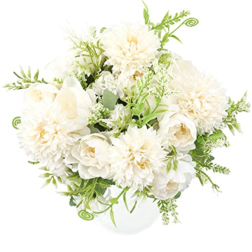 THE BLOOM TIMES 4 Packs Artificial Flowers, Fake Peony Silk Hydrangea Bouquet Decor Plastic Realistic Flower Arrangements Wedding Decoration Table Centerpieces (White)