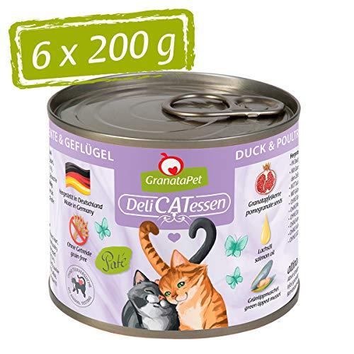 DeliCatessen GranataPet Ente & Geflügel, Nassfutter für Katzen, Katzenfutter für Feinschmecker, Futter ohne Getreide & ohne Zuckerzusätze, 6 x 200 g