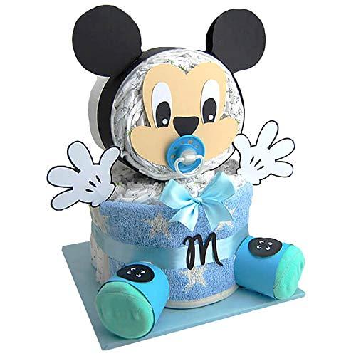 Windeltorte.com – Maus   Windeltorte in Blau - inkl. 31 LILLYDOO Windeln   Geschenk zur Geburt   Taufgeschenk   Geschenk zur Babyparty – handgefertigt (Junge)