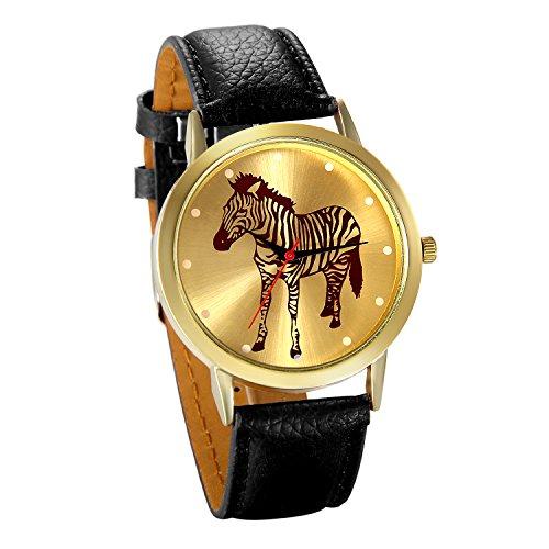 JewelryWe Damen Armbanduhr, Fashion Analog Quarz Zebra Elegant Casual Uhr Modisch Zeitloses Design mit Leder Armband, Farbe: Schwarz