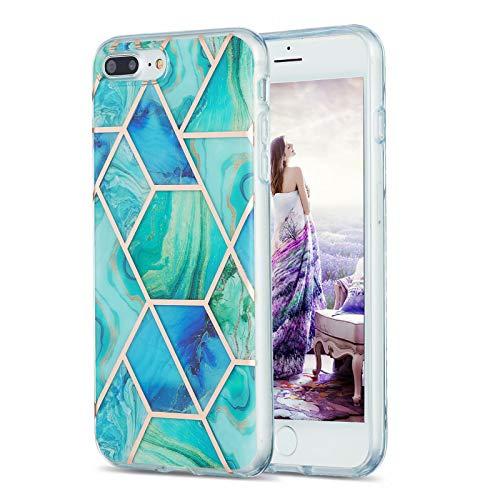 TYWZ Marmor Hülle für iPhone 8 Plus/7 Plus,Silikon Handyhülle Weiche Schlank Schutzhülle Ultra Dünner Handytasche Flexibel Case-Grün