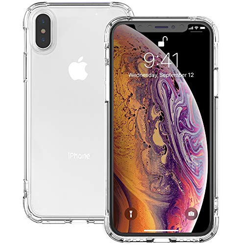 IVSUN iPhone Xs Max Case Clear, Shockproof Anti-Yellow TPU iPhone Xs Max Case 6.5″ Silicone Rubber Cover Anti-Watermark