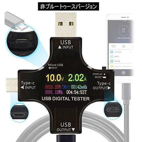USB CメーターテスターType-C USBマルチメーターテスター現在の電力容量AMP電圧充電器負荷インピーダンスPDデジタル温度テスターUSB電圧計電流計カラーTFTディスプレイQC2.0 / 3.0電源バンクテスター