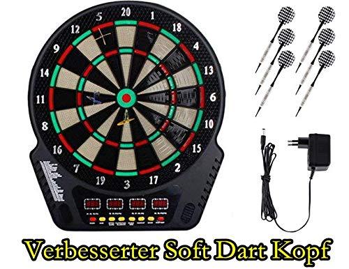 Oppikle Elektronische Dartscheibe - Dart Scheibe E Dartboards Dartautomat mit 6 Dartpfeile - 27 Spielen und 243 Varianten für 16 Spiele (Schwarz)