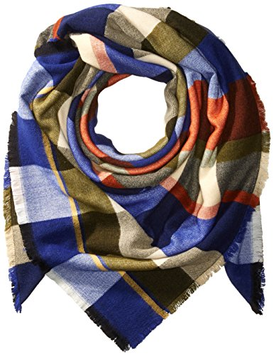 French Connection Women's Woolen Check Scarf, Cream/Copper Coin/Russian Blue/Dublin Green, O/S