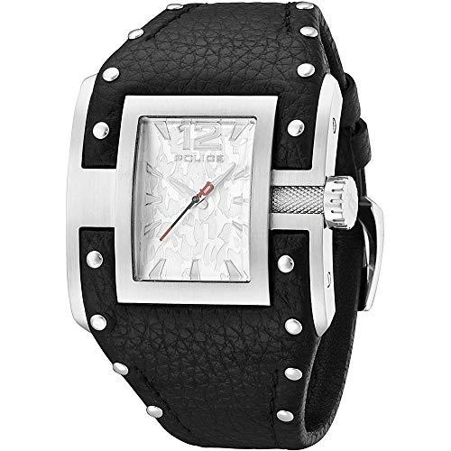 Police PL.13401JS-04 - Reloj analógico de Cuarzo para Hombre con Correa de Piel, Color Negro (Reloj)
