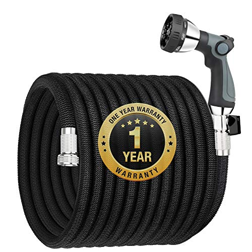 """Garden Hose Expandable 100FT, Flexible Water Hose with Powerful Nozzle Spray, Car Wash Hose with Good Pressure,Expanding hose with 3/4"""" Brass Connector, No Kink, No Leak, Easy for Mobility and Storage"""