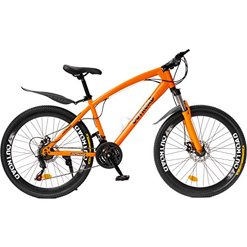Max4out Mountain Bike 21 Speed Shimano Derailleur with High Carbon Steel Frame, 26 inches Wheels, Double Disc Brake, Front Suspension Anti-Slip Bikes Orange