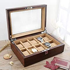 NHLBD Watch storage box Old Elm Pure Solid Wood Skylight Watch Box Storage Box High-end Solid Wood Wooden Display Box With Lock fashion (Color : C) #2