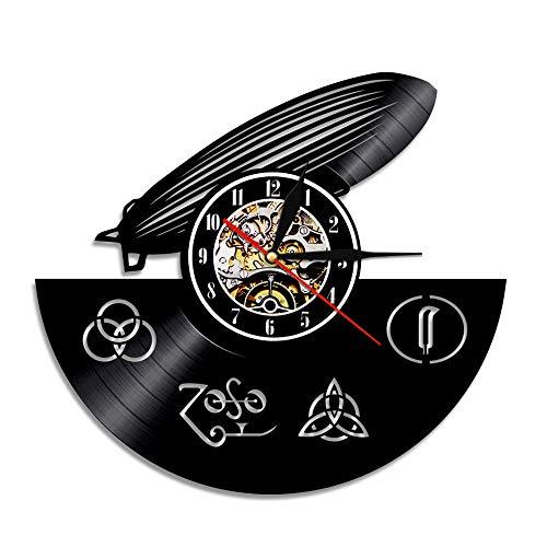 YUN Clock Wanduhr aus Vinyl Schallplattenuhr Upcycling Led Zeppelin - 3D Design-Uhr Wand-Deko Vintage Familien Zimmer Dekoration Kunst Geschenk, Durchmesser 30 cm