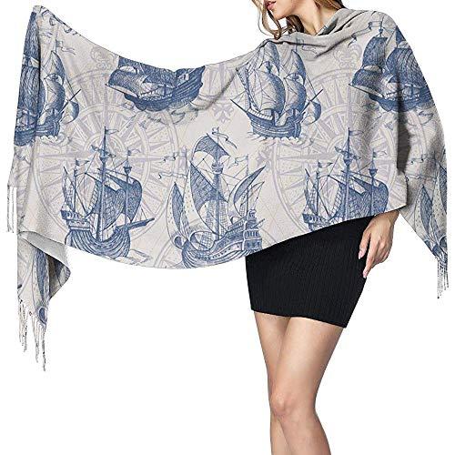 Beibao-shop Vintage Segelboot alte Landkarten Damen Winter warme Schal Mode lange große weiche Kaschmir Schal Wrap Schals