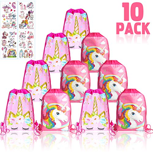 YuChiSX 10 Piezas Unicornio Bolsa Regalo Bolsa de Cuerdas
