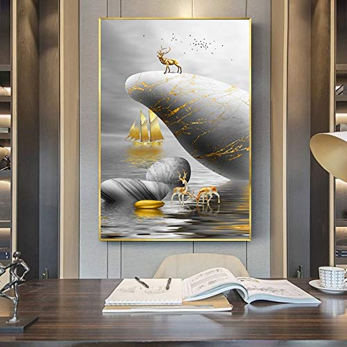wopiaol Wall art canvas Golden sailboat against grey sky Colorful Printed Poster Wall Art Pictures for Living Room Home Decor50x90cm(No frame)
