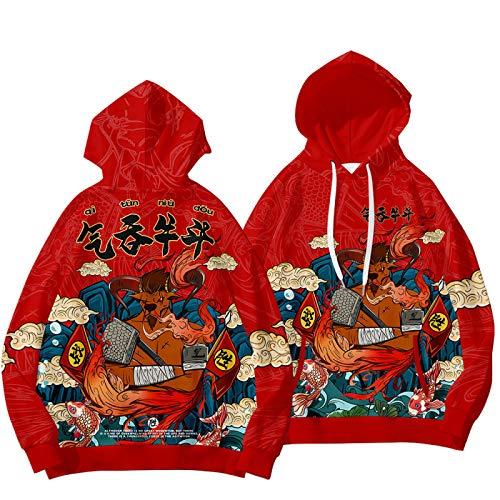 GIRLXV Año Nuevo Año del Buey Suéter Otoño Invierno Swallowing Bull Fighting Hoodie Plus Velvet Sudadera Deportiva para Hombre XXL