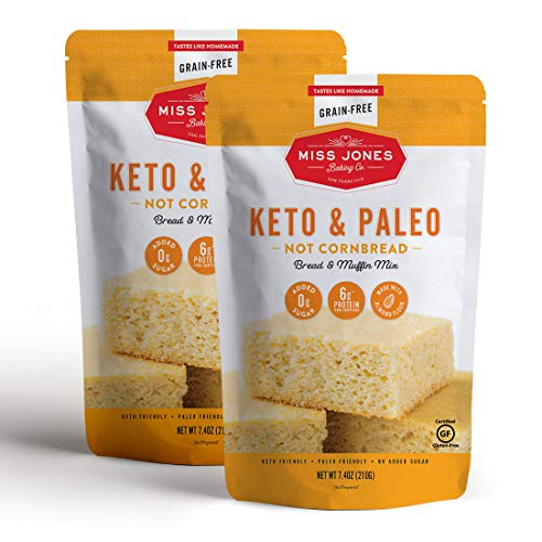 Miss Jones Baking Keto Not Cornbread Muffin Mix - Gluten Free, Low Carb, No Sugar Added, Naturally Sweetened Desserts & Treats - Diabetic, Atkins, WW, and Paleo Friendly (Pack of 2)