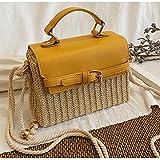 Dwqlx Bolso De Mujer Bolso De Paja Bohemio Bolsos De Playa Tejidos De Verano Bolso Bandolera De Hombro De Vacaciones Mujer Retro Box-3