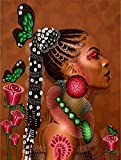 Bimkole 5D Diamond Painting Kits African American Women, Full Drill Exotic Beauty Paint with Diamonds Art DIY Rhinestone Embroidery by Number Kits Cross Stitch Home Wall Craft Decoration(12x16inch)