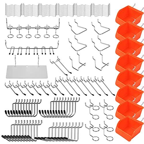 BRIMIX 150 piezas Ganchos para tableros con agujeros. Accesorio para panel perforado, para colgar y organizar herramientas. Ideal para bricolaje de hogar