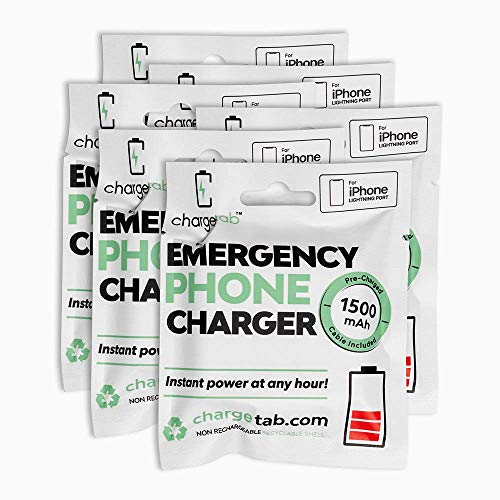ChargeTab Emergency Phone Charger 6 Pack Compatible with iPhone