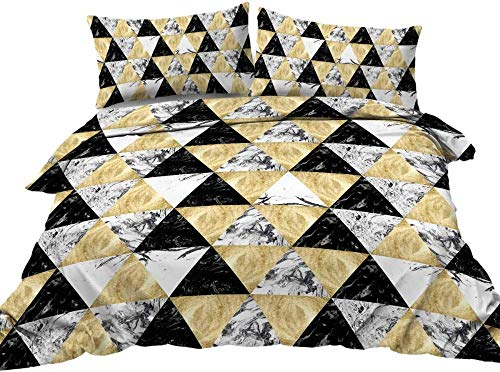 Rvvaceo Double Bed Duvet Covers Set Microfiber Silky Duvet Covers Set Soft Hypoallergenic, Easy Care 1 Quilt Cover+2 Pillowcases-King (240 X 220 Cm) Abstract Stylish Black Gold Marble Pattern