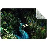エリアラグ軽量 暗い羽の中で抽象的な孔雀 フロアマットソフトカーペットチホームリビングダイニングルームベッドルーム