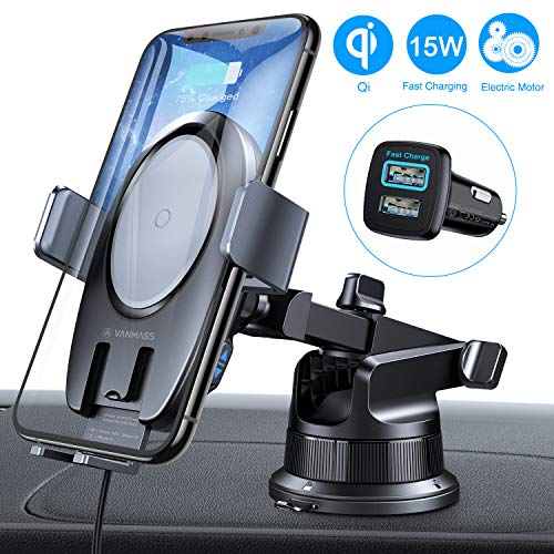 VANMASS 15W Wireless Car Charger Mount, World Leading Electric Automatic Clamping Dashboard Air Vent Windshield Phone Holder, Fast Charging Compatible iPhone 11 Pro Max Xs X,Samsung S20 S10 S9 Note10