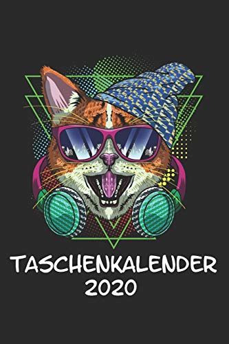 Taschenkalender 2020: Taschenkalender für Sept. 2019 bis Dezember 2020 A5 Terminplaner Wochenplaner Terminkalender Wochenkalender Organizer mit Katze Kätzchen Kopfhörer DJ Musik Lila Lustig Geschenk