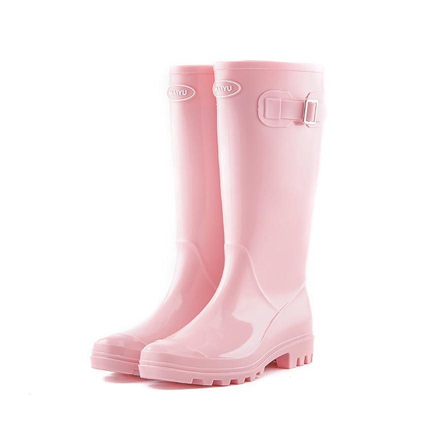 対象感情のプレミアムCAFUTY 防水レインブーツ、レディースガウンのためのサイドバックルレインシューズとPVC滑り止めゴム (Color : ピンク, サイズ : 39(25.8cm))