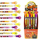 TINYMILLS 24 Pcs Halloween Multi Point Stackable Push Pencil Assortment with Eraser for Halloween Party Favor Prize Carnival